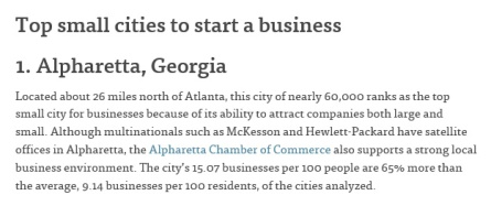 Top small city to start a business
